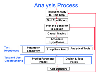 Flowchart describing the analysis process, test hypotheses, and test and use understanding.